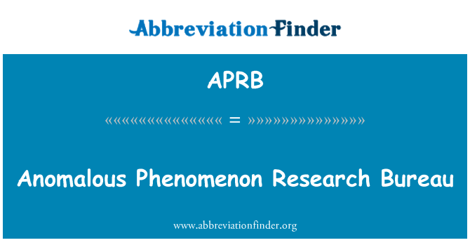 APRB: Anomalous Phenomenon Research Bureau