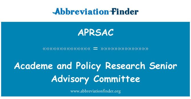 APRSAC: Academe and Policy Research Senior Advisory Committee