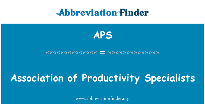 APS: Association of Productivity Specialists