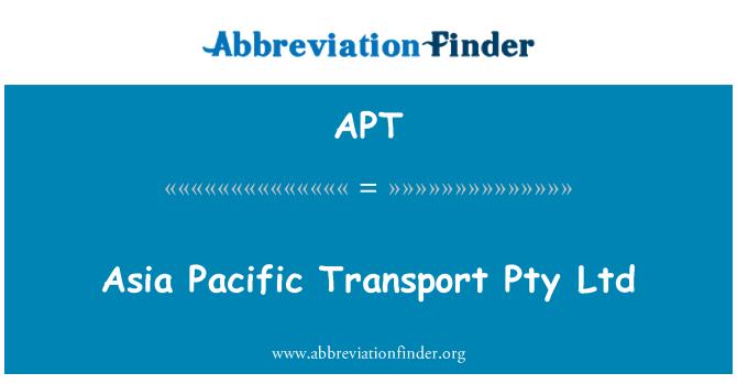 APT: Asia Pacific Transport Pty Ltd