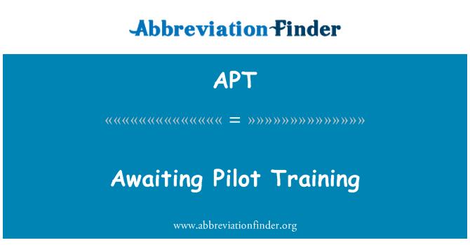 APT: Awaiting Pilot Training