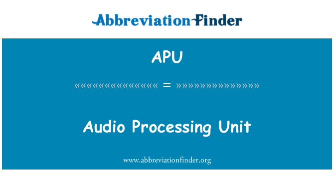 APU: Audio Processing Unit