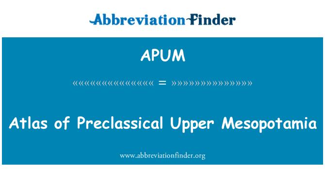APUM: Atlas of Preclassical Upper Mesopotamia
