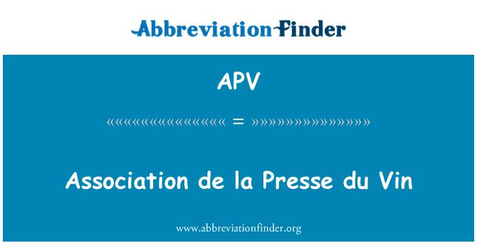 APV: Association de la Presse du Vin