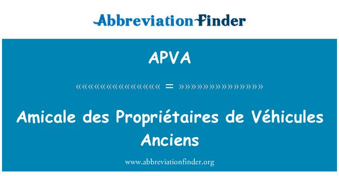 APVA: Amicale des Propriétaires de Véhicules Anciens