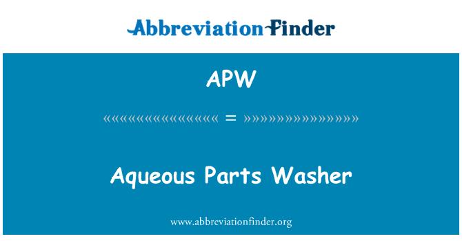 APW: Aqueous Parts Washer