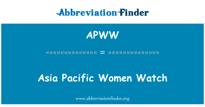 APWW: Asia Pacific Women Watch