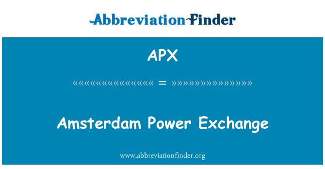 APX: Amsterdam Power Exchange