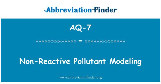AQ-7: Non-Reactive Pollutant Modeling