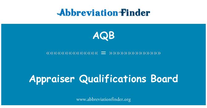 AQB: Appraiser Qualifications Board