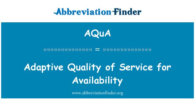 AQuA: Adaptación calidad de servicio para disponibilidad