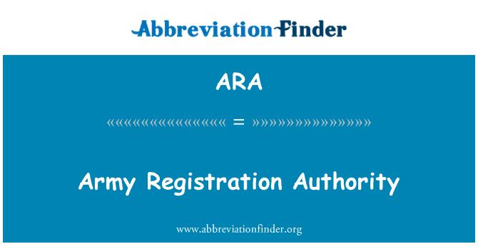 ARA: Army Registration Authority