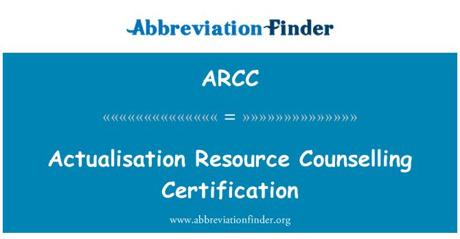 ARCC: Actualisation sumber kaunseling pensijilan