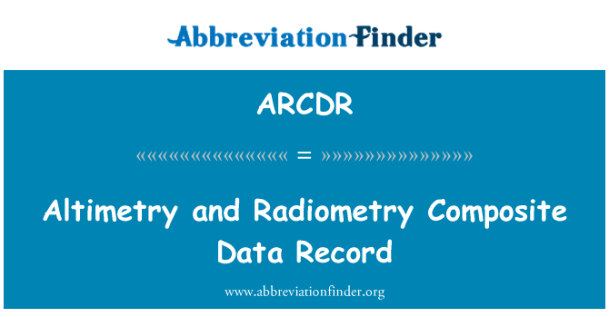 ARCDR: Altimetry and Radiometry Composite Data Record