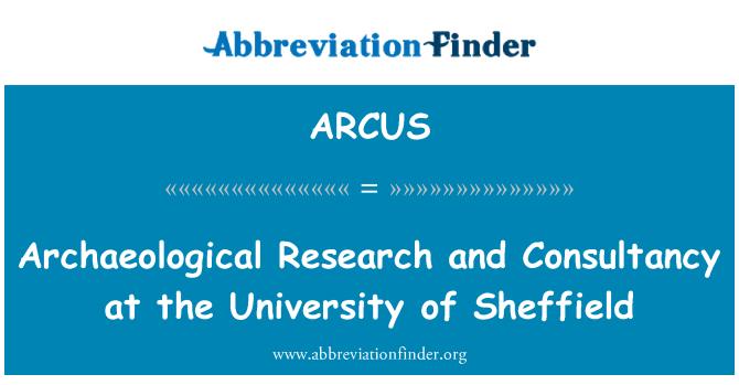 ARCUS: Arkeolojik araştırma ve danışmanlık, Sheffield Üniversitesi