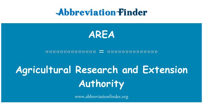 AREA: La investigación agrícola y extensión autoridad