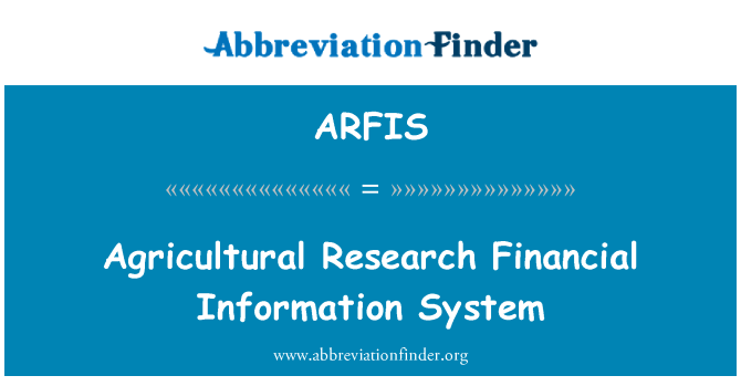 ARFIS: Agricultural Research Financial Information System