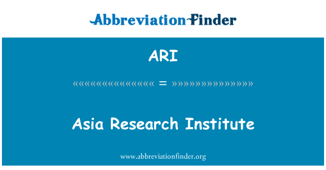 ARI: Asia Research Institute