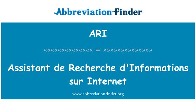 ARI: Assistant de Recherche d'Informations sur Internet