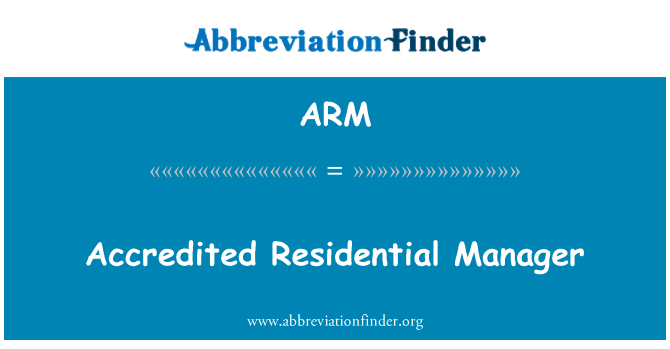 ARM: Accredited Residential Manager