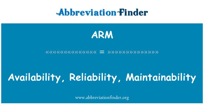 ARM: Availability, Reliability, Maintainability