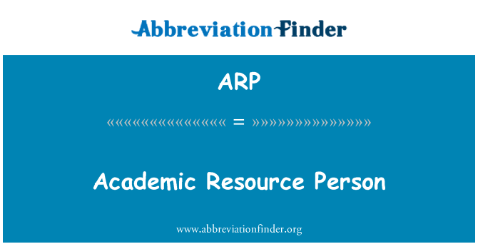ARP: Academic Resource Person