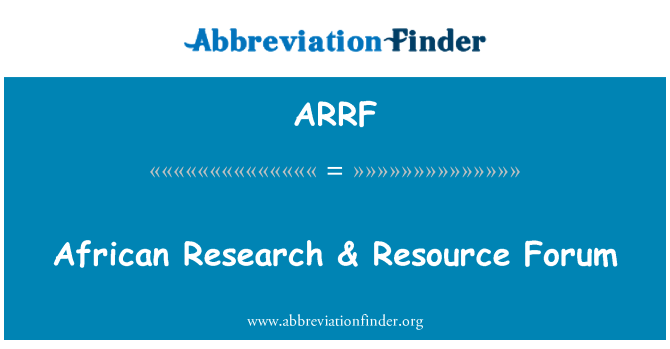 ARRF: African Research & Resource Forum