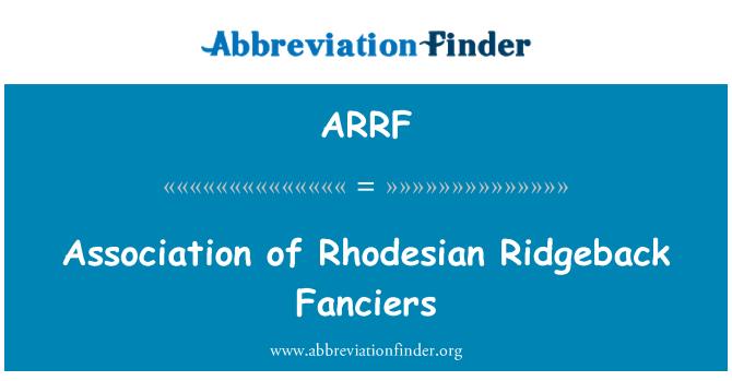 ARRF: Association of Rhodesian Ridgeback Fanciers