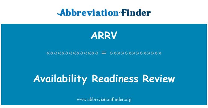 ARRV: Kajian kesediaan ketersediaan