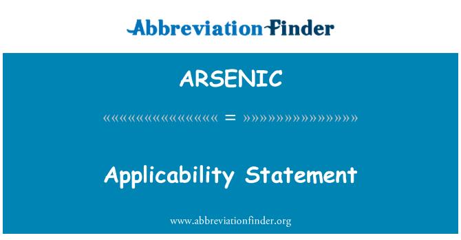 ARSENIC: Kepenggunaan di penyata