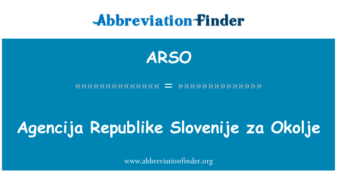 ARSO: Agencija Republike Slovenije za Okolje