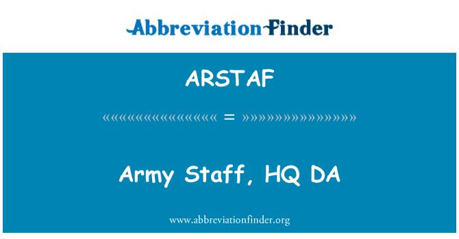 ARSTAF: Ordu personeli, HQ DA