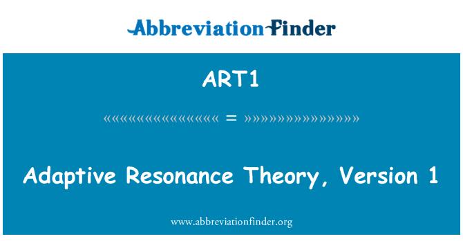 ART1: Adaptive Resonance Theory, Version 1