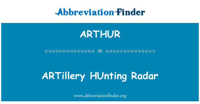 ARTHUR: Artillería caza Radar