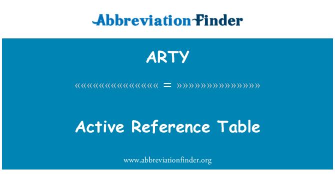 ARTY: Jadual rujukan aktif