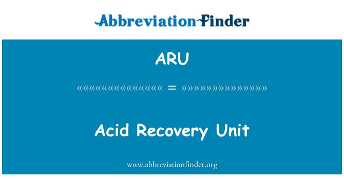 ARU: Acid Recovery Unit