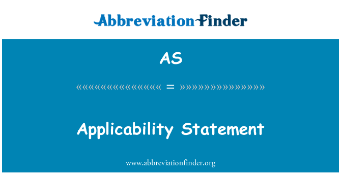 AS: Applicability Statement