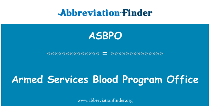 ASBPO: Armed Services Blood Program Office