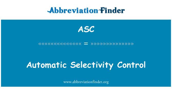 ASC: Automatic Selectivity Control