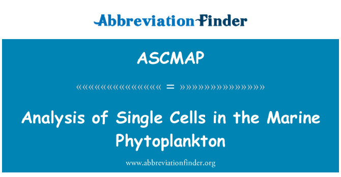 ASCMAP: Analysis of Single Cells in the Marine Phytoplankton