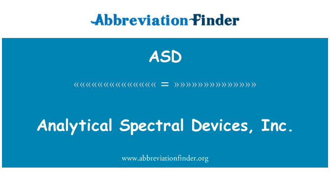 ASD: Analytical Spectral Devices, Inc.