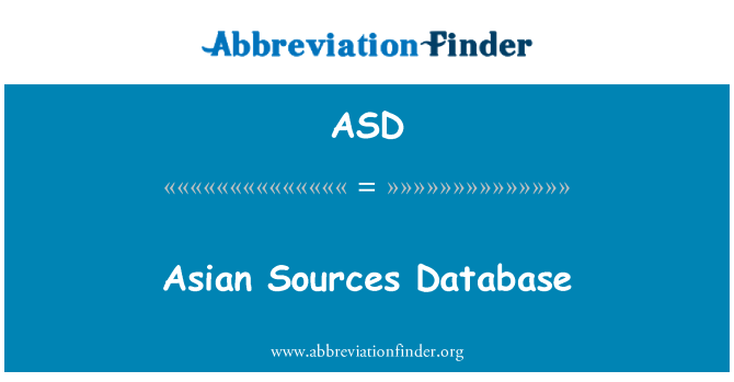 ASD: Asian Sources Database