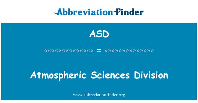 ASD: Atmospheric Sciences Division