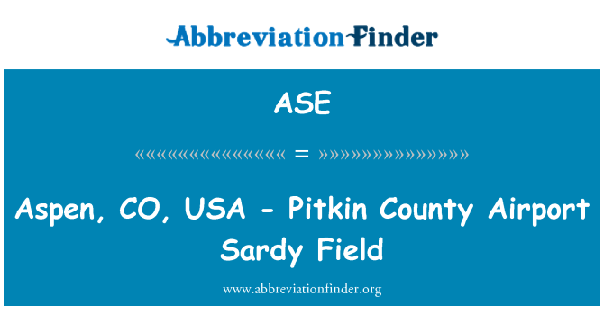 ASE: Aspen, CO, USA - Pitkin County Airport Sardy Field