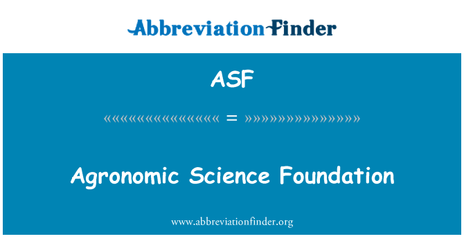 ASF: Agronomic Science Foundation