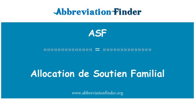 ASF: Allocation de Soutien Familial