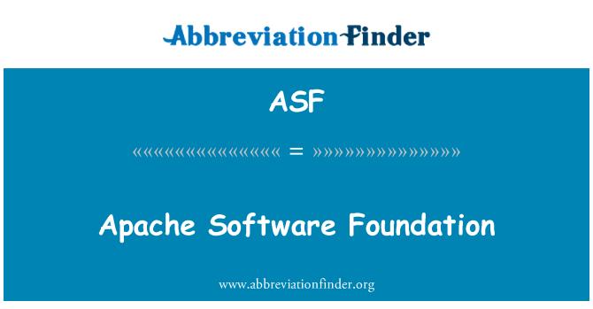 ASF: Apache Software Foundation
