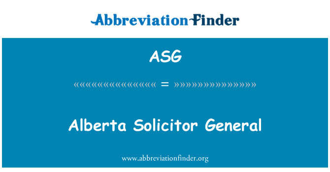 ASG: Alberta Solicitor General