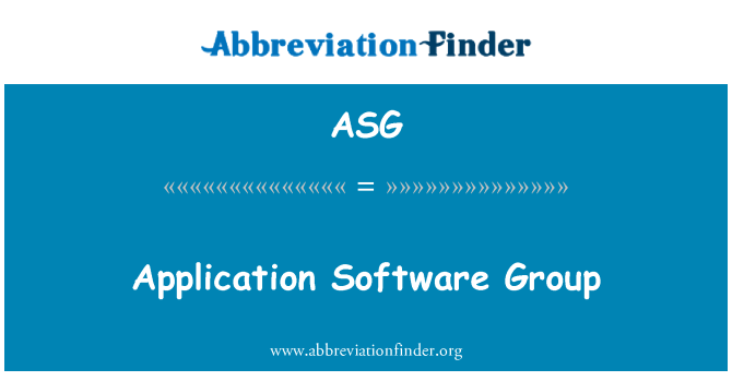 ASG: Application Software Group