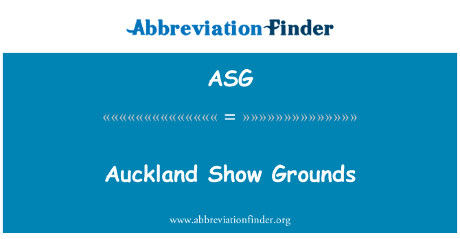 ASG: Auckland Show Grounds